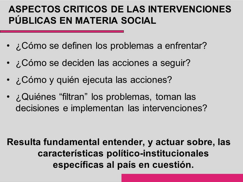 ASPECTOS CRITICOS DE LAS INTERVENCIONES PÚBLICAS EN MATERIA SOCIAL