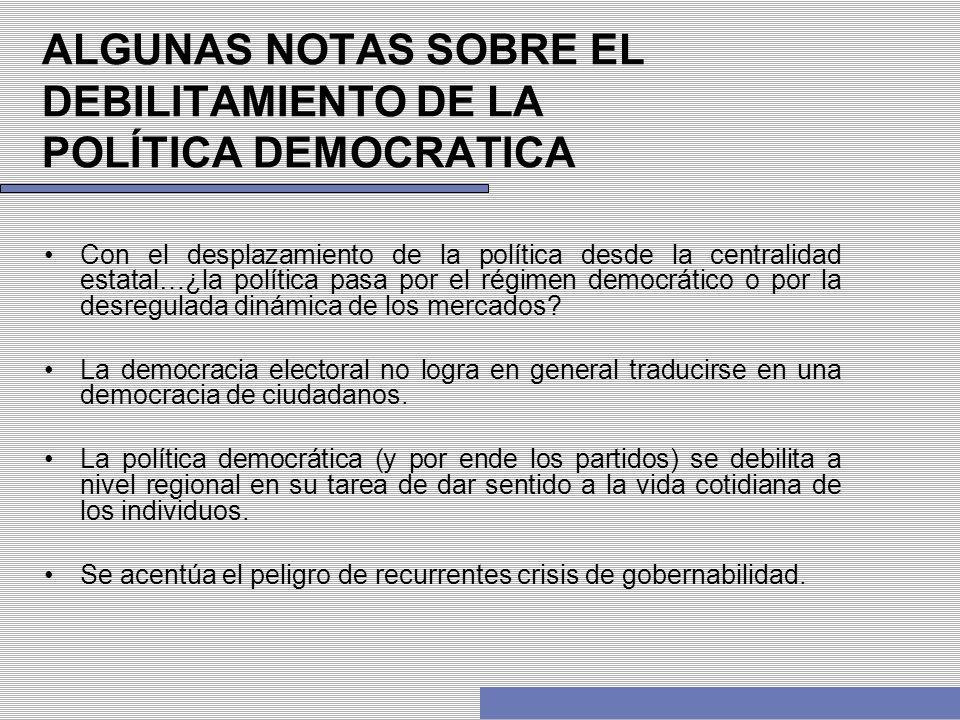 ALGUNAS NOTAS SOBRE EL DEBILITAMIENTO DE LA POLÍTICA DEMOCRATICA