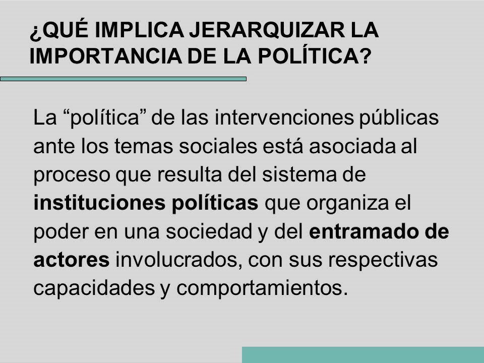 ¿QUÉ IMPLICA JERARQUIZAR LA IMPORTANCIA DE LA POLÍTICA