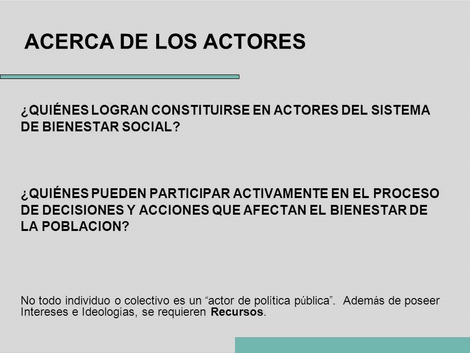 ACERCA DE LOS ACTORES ¿QUIÉNES LOGRAN CONSTITUIRSE EN ACTORES DEL SISTEMA DE BIENESTAR SOCIAL