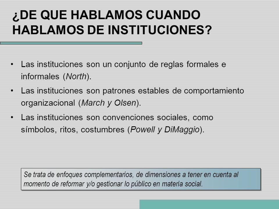 ¿DE QUE HABLAMOS CUANDO HABLAMOS DE INSTITUCIONES