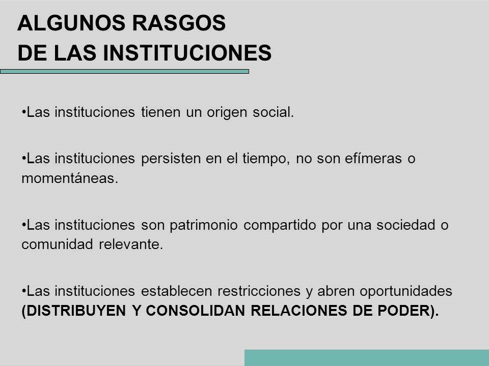 ALGUNOS RASGOS DE LAS INSTITUCIONES