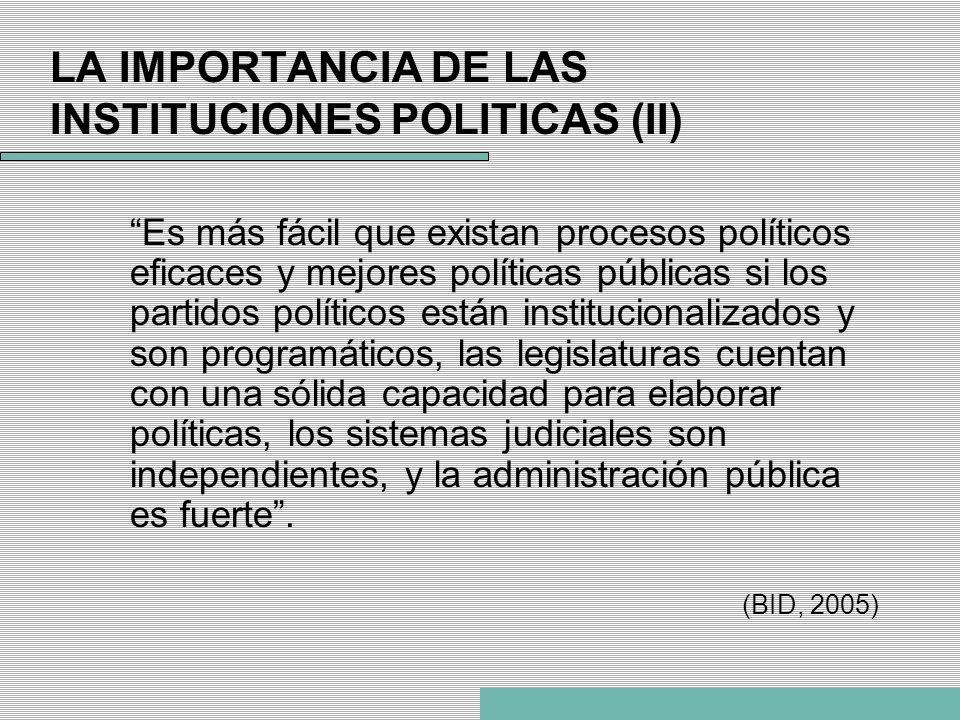 LA IMPORTANCIA DE LAS INSTITUCIONES POLITICAS (II)