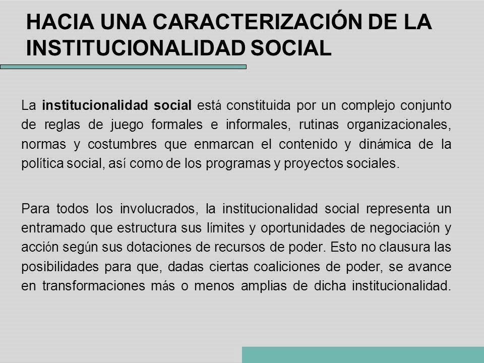 HACIA UNA CARACTERIZACIÓN DE LA INSTITUCIONALIDAD SOCIAL