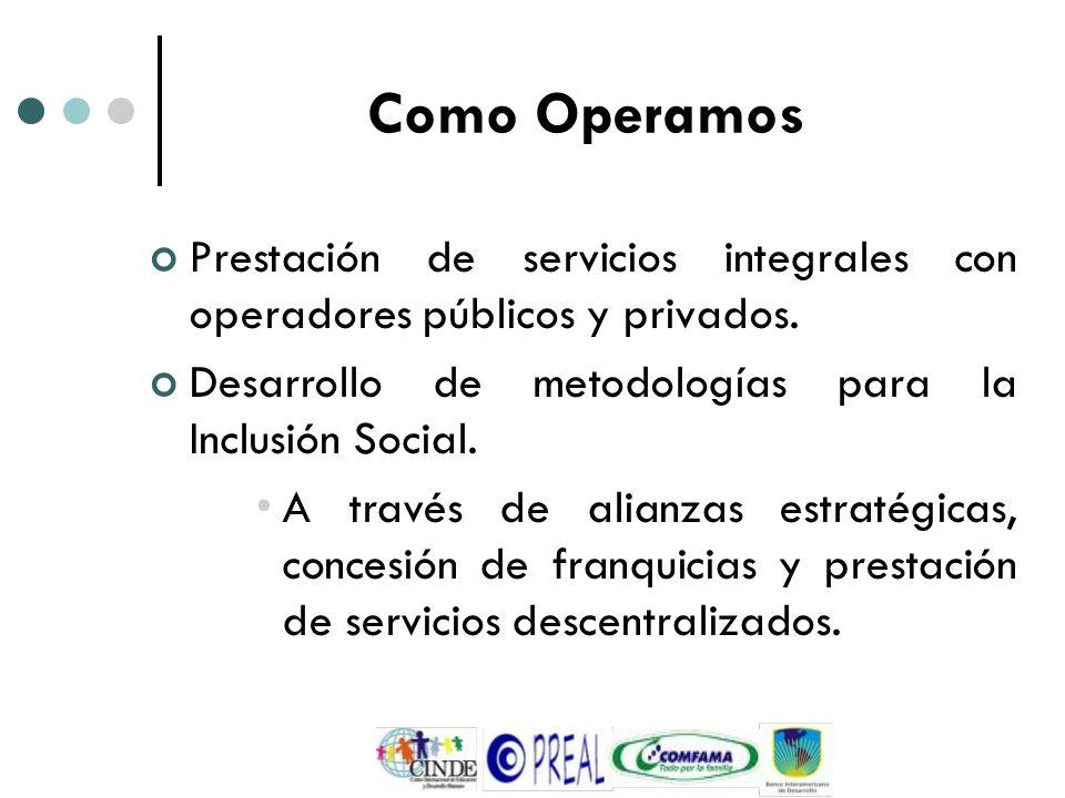 Como Operamos Prestación de servicios integrales con operadores públicos y privados. Desarrollo de metodologías para la Inclusión Social.