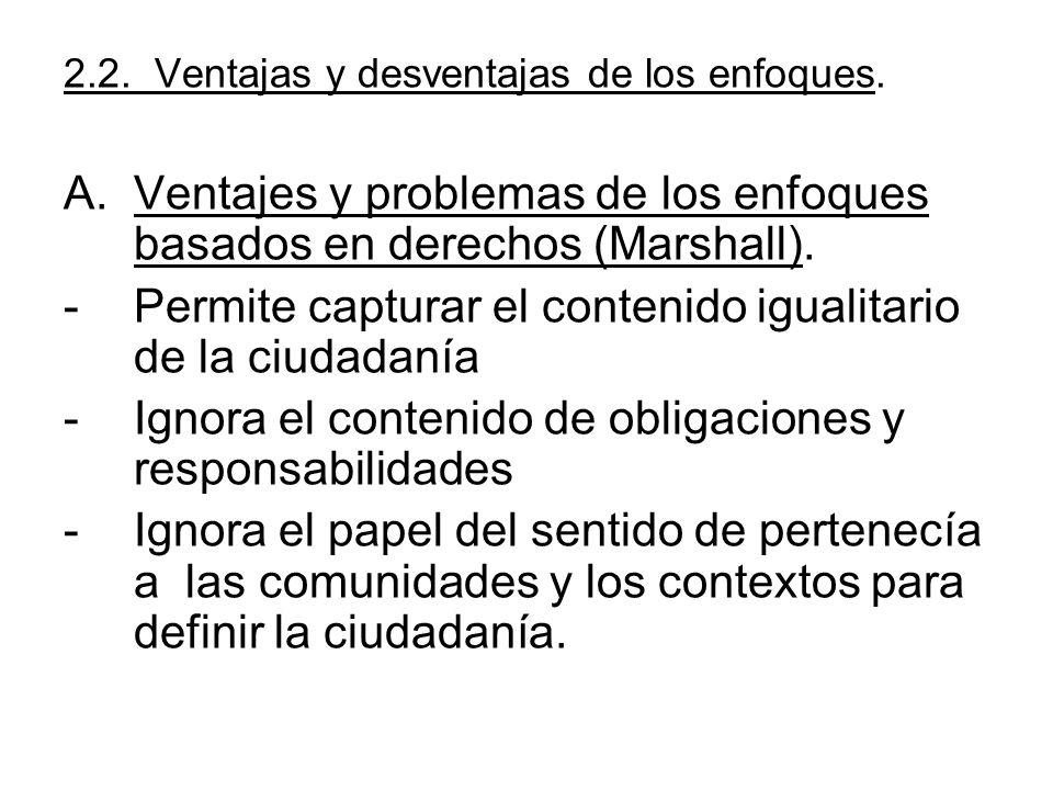 Ventajes y problemas de los enfoques basados en derechos (Marshall).