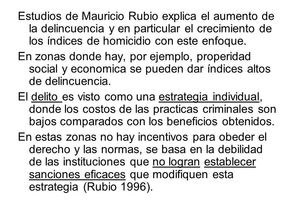 Estudios de Mauricio Rubio explica el aumento de la delincuencia y en particular el crecimiento de los índices de homicidio con este enfoque.
