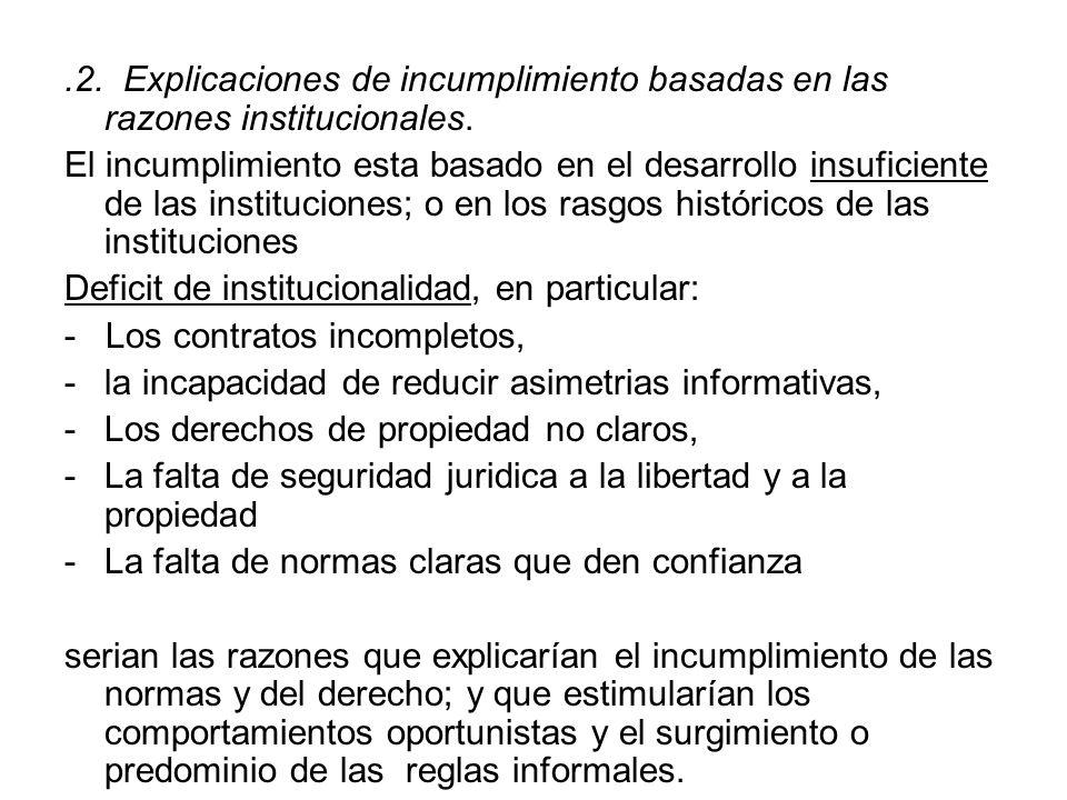 .2. Explicaciones de incumplimiento basadas en las razones institucionales.