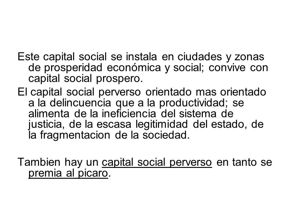 Este capital social se instala en ciudades y zonas de prosperidad económica y social; convive con capital social prospero.