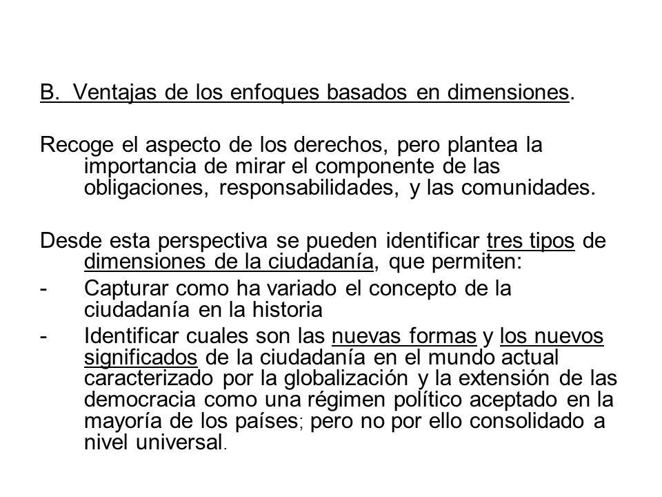 B. Ventajas de los enfoques basados en dimensiones.