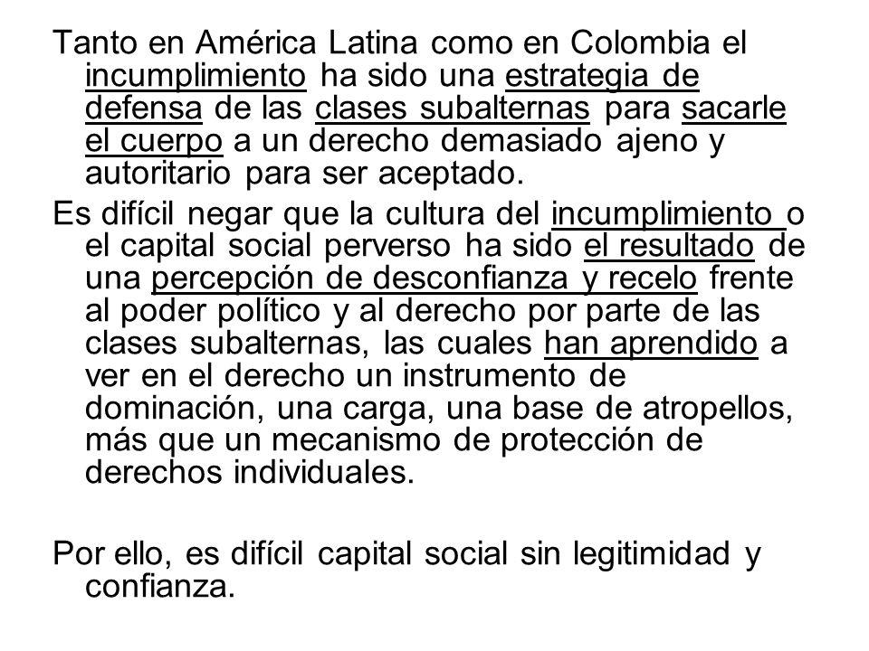 Tanto en América Latina como en Colombia el incumplimiento ha sido una estrategia de defensa de las clases subalternas para sacarle el cuerpo a un derecho demasiado ajeno y autoritario para ser aceptado.