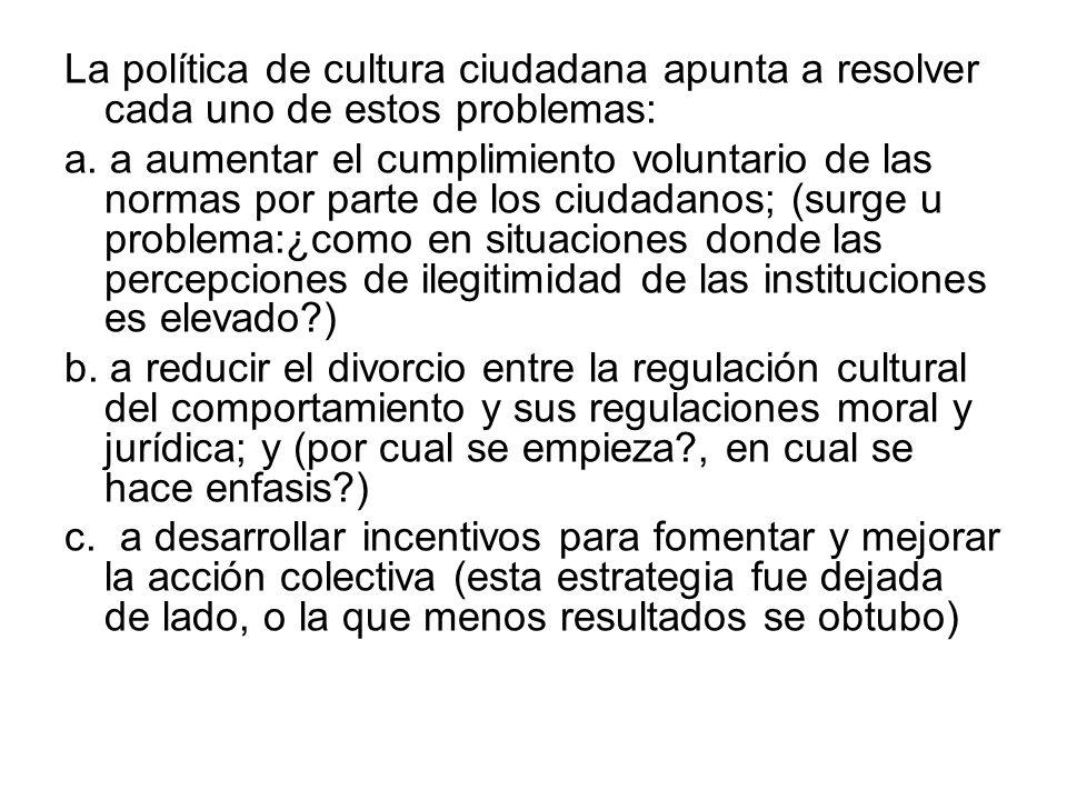 La política de cultura ciudadana apunta a resolver cada uno de estos problemas: