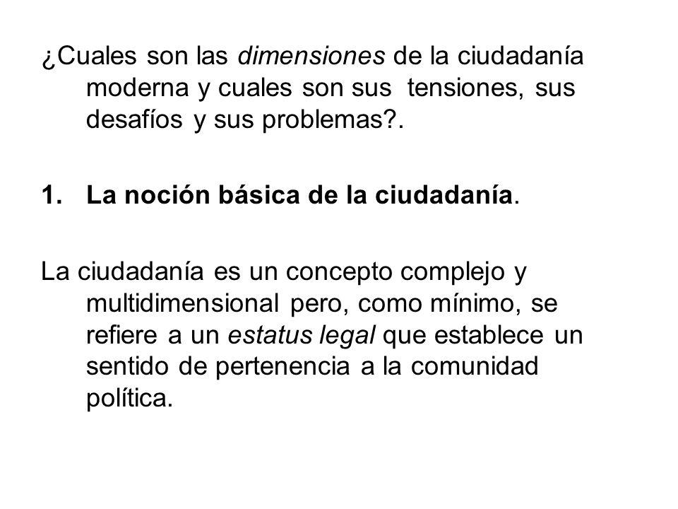 ¿Cuales son las dimensiones de la ciudadanía moderna y cuales son sus tensiones, sus desafíos y sus problemas .