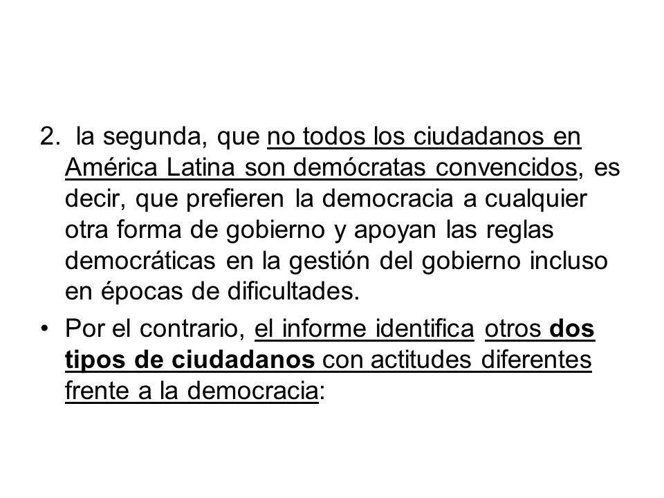 2. la segunda, que no todos los ciudadanos en América Latina son demócratas convencidos, es decir, que prefieren la democracia a cualquier otra forma de gobierno y apoyan las reglas democráticas en la gestión del gobierno incluso en épocas de dificultades.