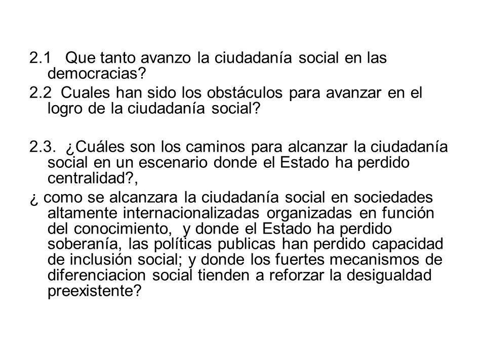 2.1 Que tanto avanzo la ciudadanía social en las democracias