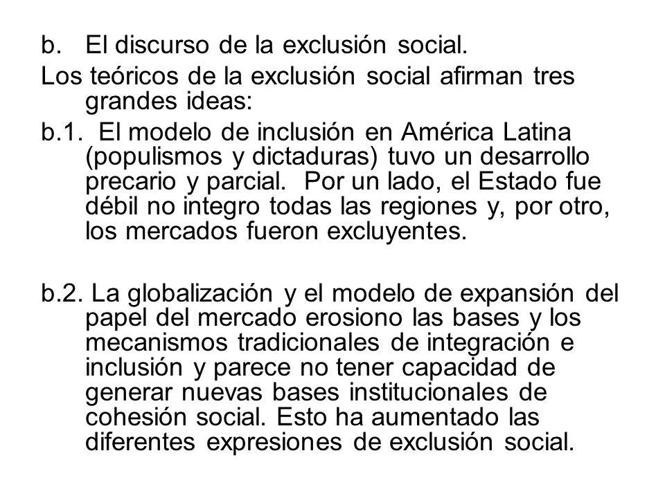 El discurso de la exclusión social.