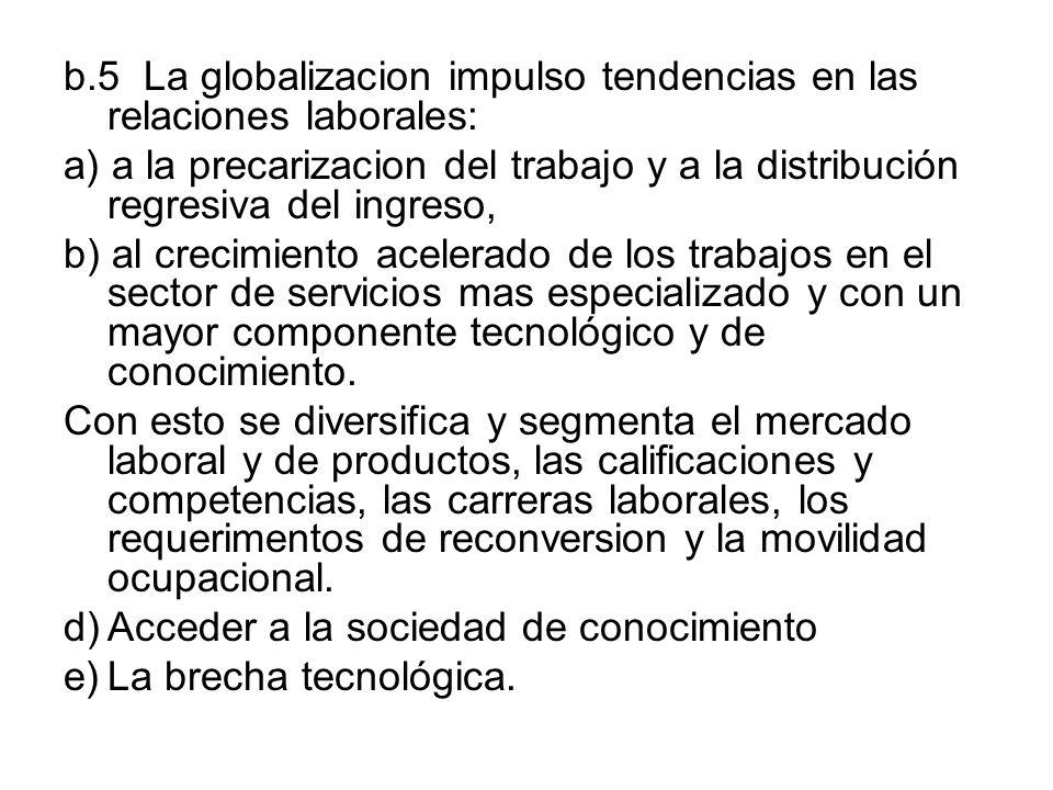 b.5 La globalizacion impulso tendencias en las relaciones laborales: