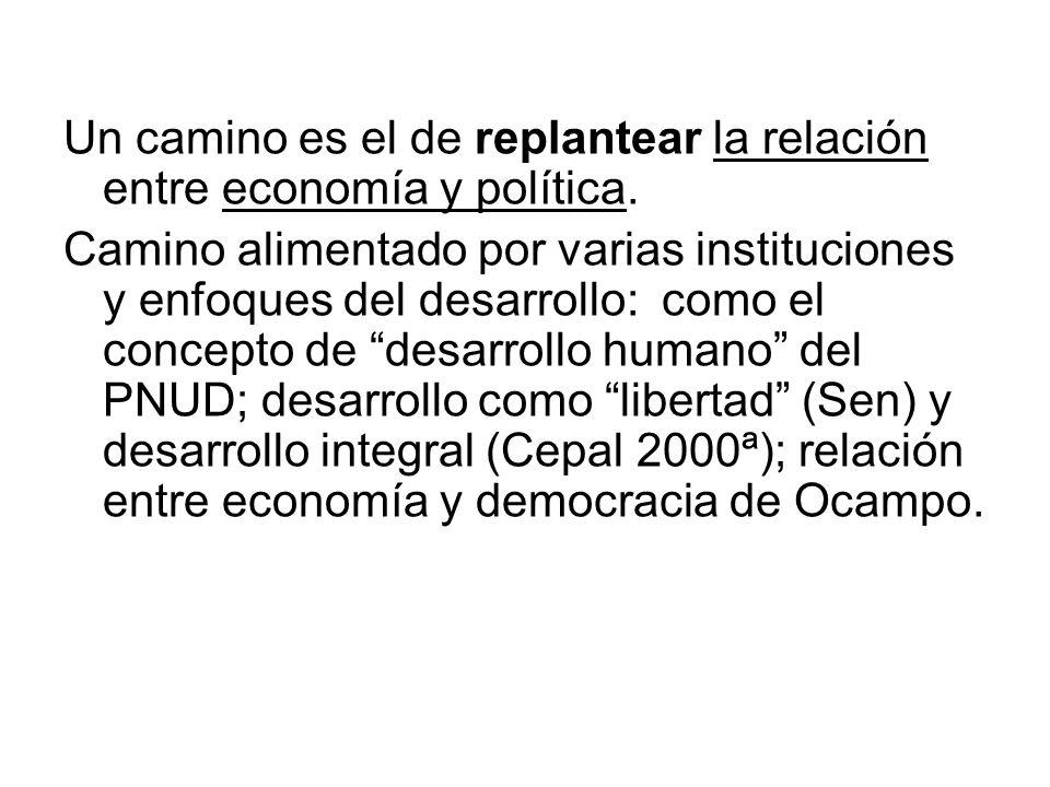 Un camino es el de replantear la relación entre economía y política.