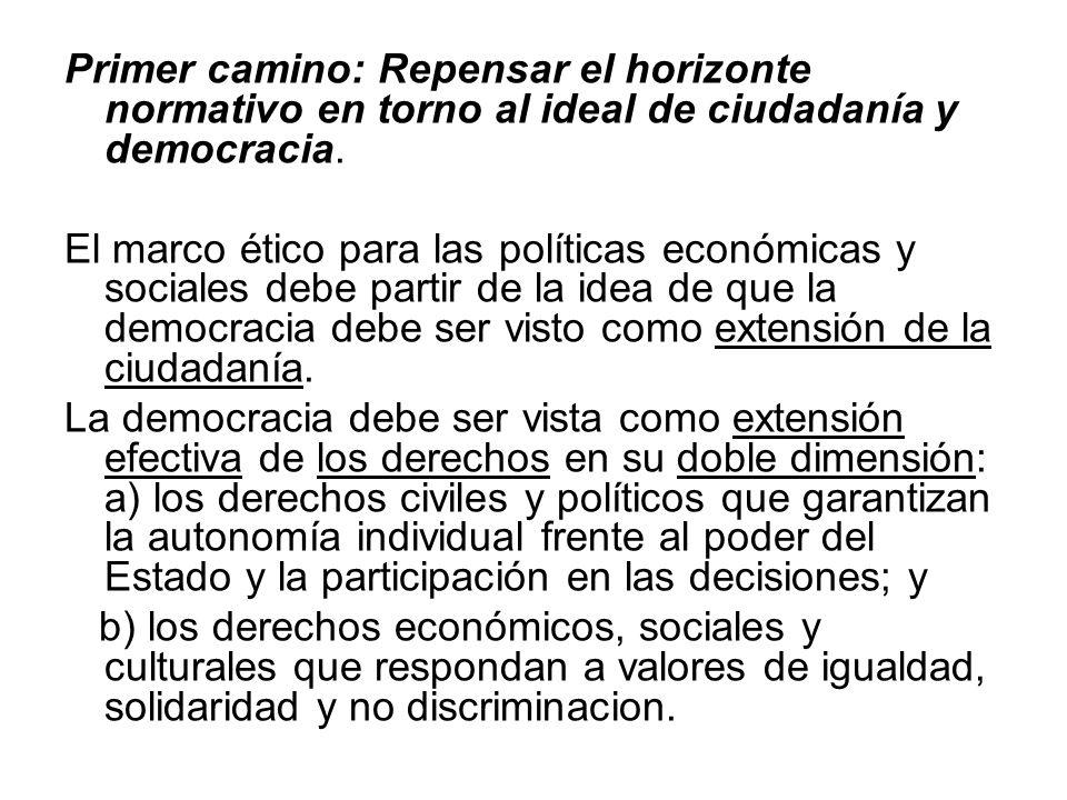 Primer camino: Repensar el horizonte normativo en torno al ideal de ciudadanía y democracia.