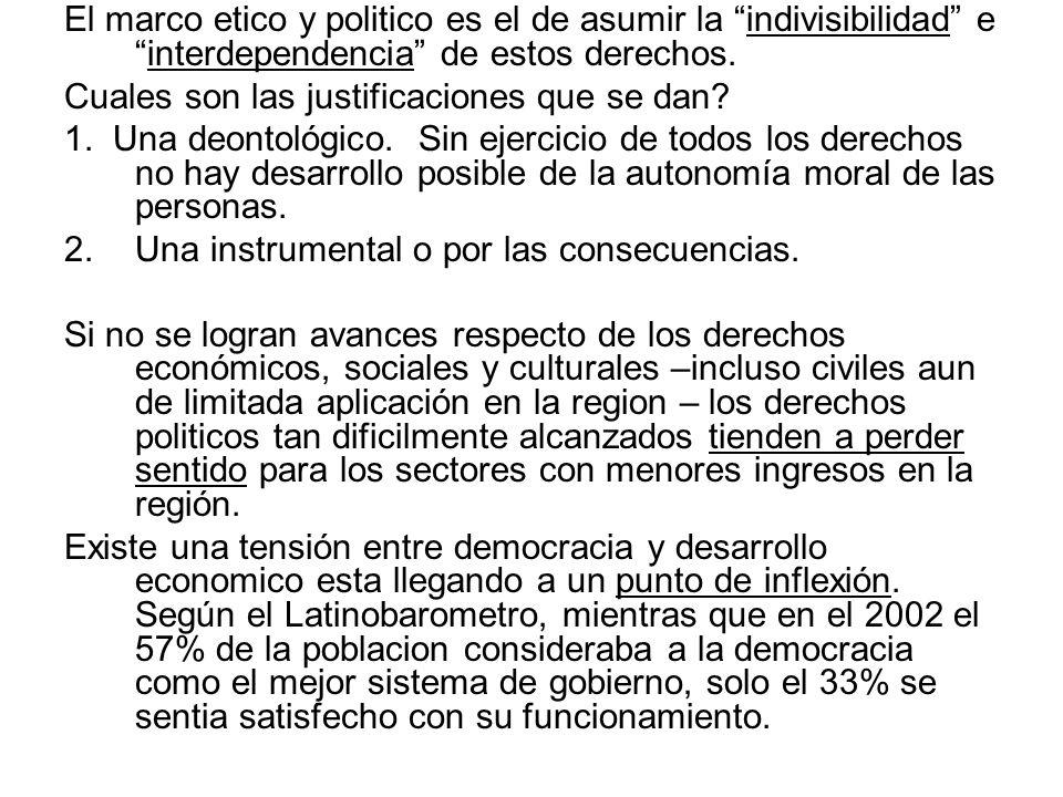 El marco etico y politico es el de asumir la indivisibilidad e interdependencia de estos derechos.