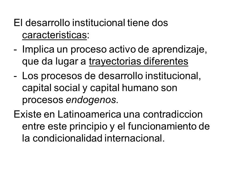 El desarrollo institucional tiene dos caracteristicas: