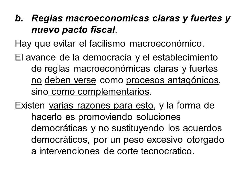 Reglas macroeconomicas claras y fuertes y nuevo pacto fiscal.