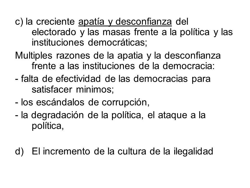 c) la creciente apatía y desconfianza del electorado y las masas frente a la política y las instituciones democráticas;