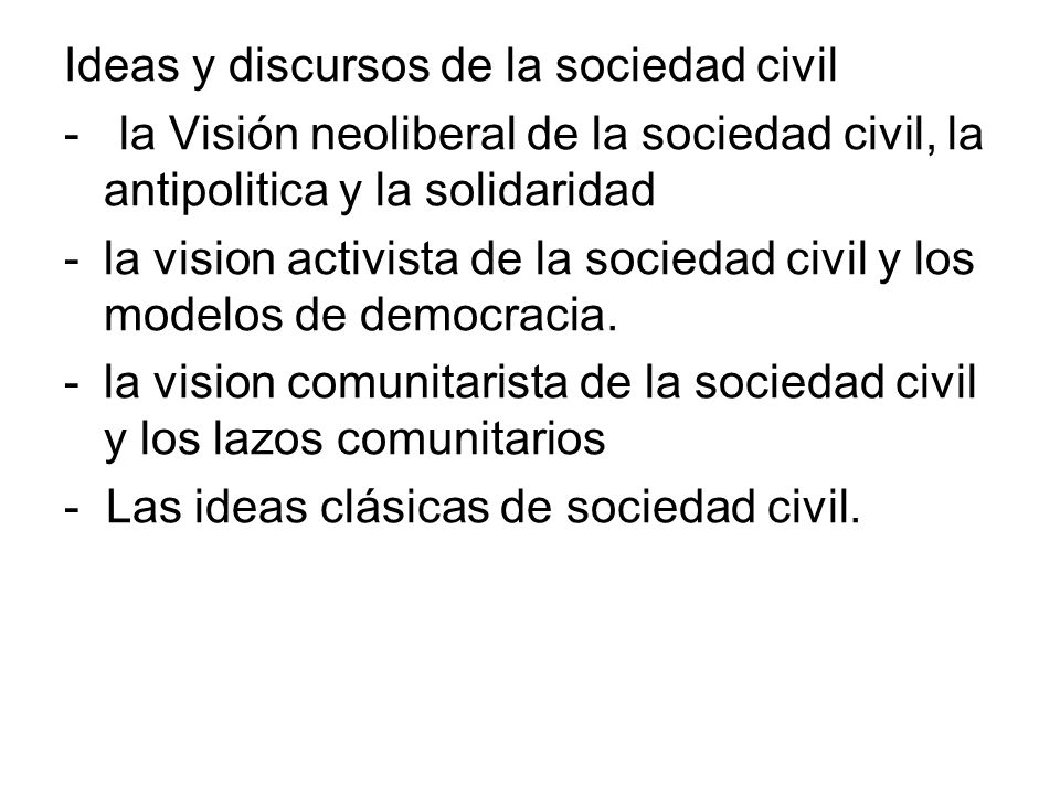 Ideas y discursos de la sociedad civil