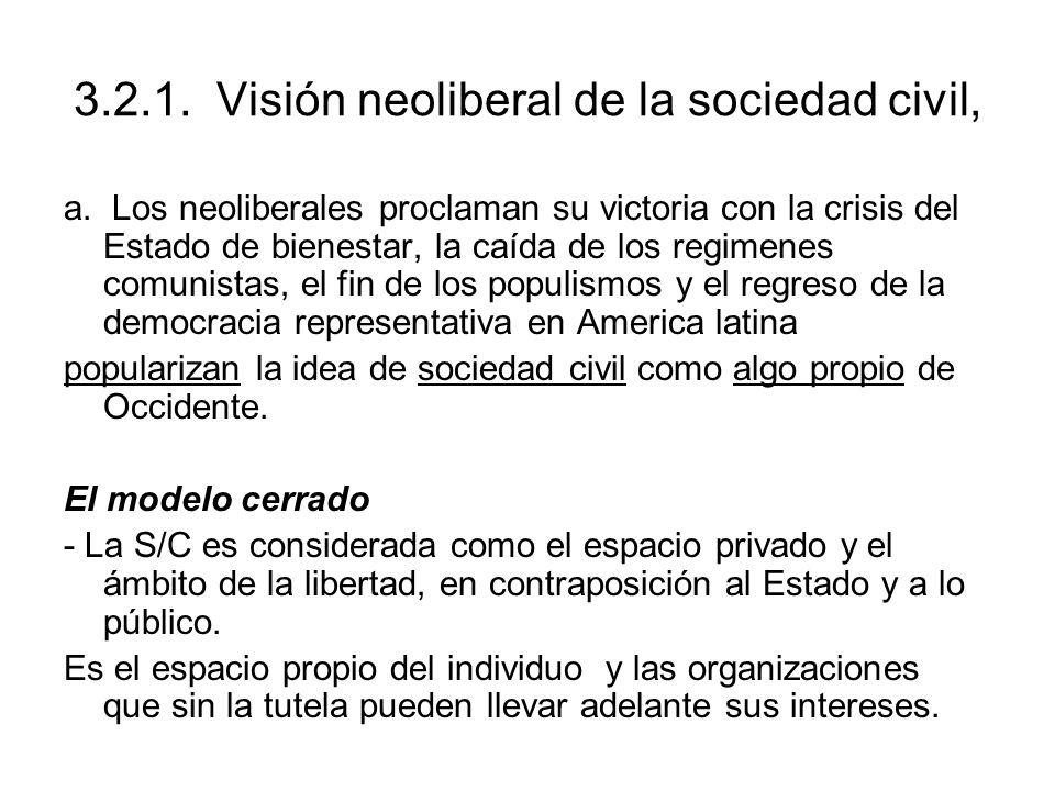 3.2.1. Visión neoliberal de la sociedad civil,