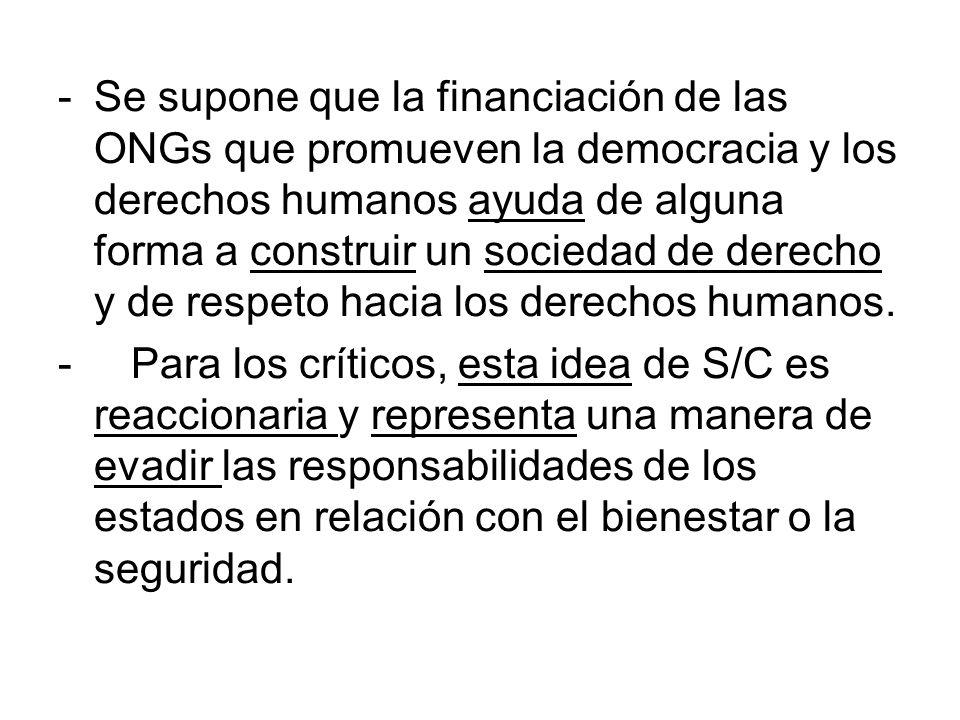 Se supone que la financiación de las ONGs que promueven la democracia y los derechos humanos ayuda de alguna forma a construir un sociedad de derecho y de respeto hacia los derechos humanos.