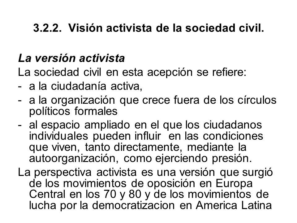 3.2.2. Visión activista de la sociedad civil.