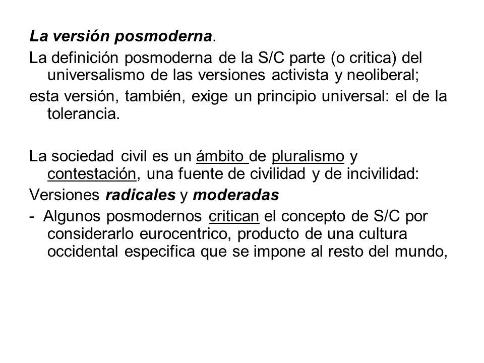 La versión posmoderna. La definición posmoderna de la S/C parte (o critica) del universalismo de las versiones activista y neoliberal;