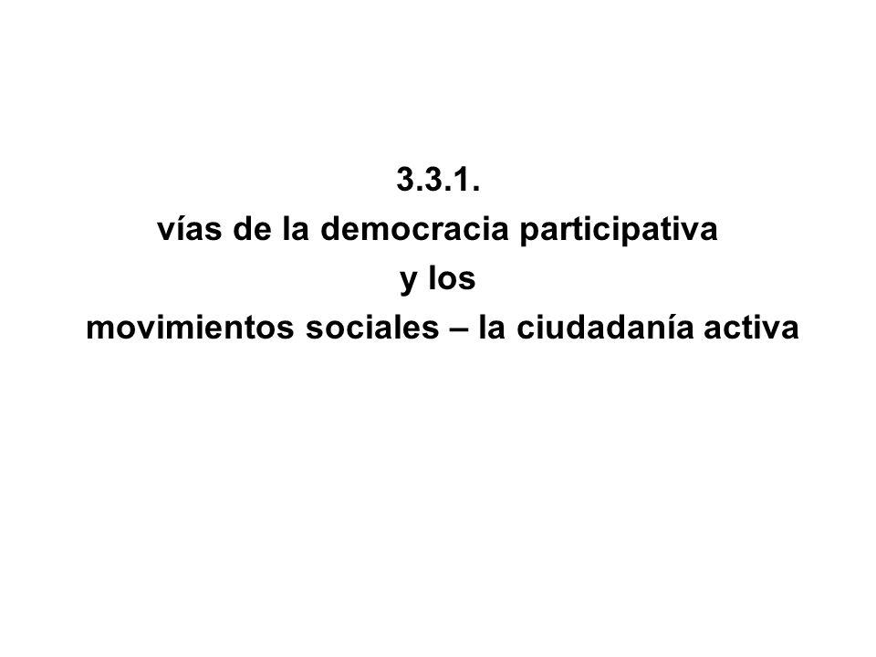 vías de la democracia participativa y los
