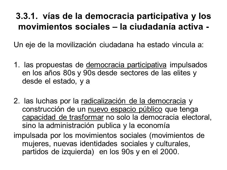 3.3.1. vías de la democracia participativa y los movimientos sociales – la ciudadanía activa -