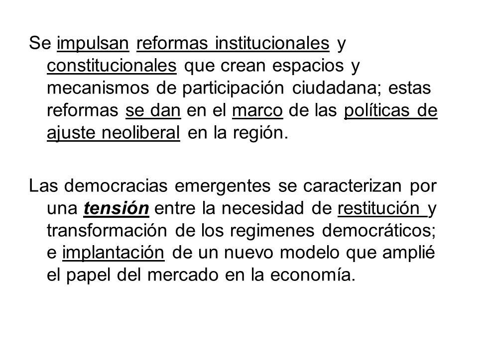 Se impulsan reformas institucionales y constitucionales que crean espacios y mecanismos de participación ciudadana; estas reformas se dan en el marco de las políticas de ajuste neoliberal en la región.