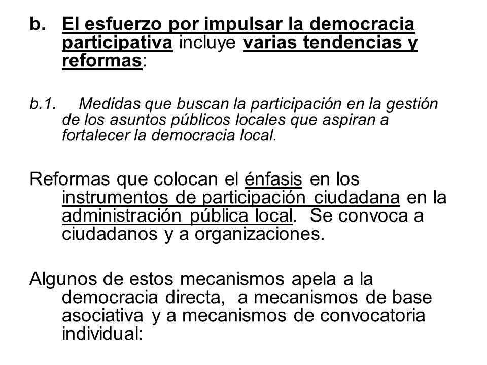 El esfuerzo por impulsar la democracia participativa incluye varias tendencias y reformas:
