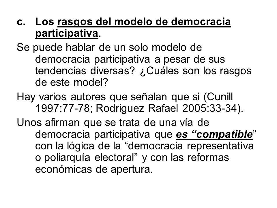 Los rasgos del modelo de democracia participativa.