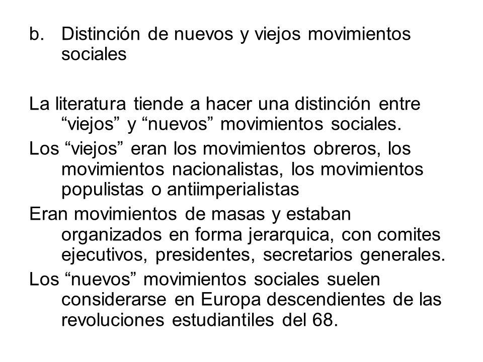 Distinción de nuevos y viejos movimientos sociales