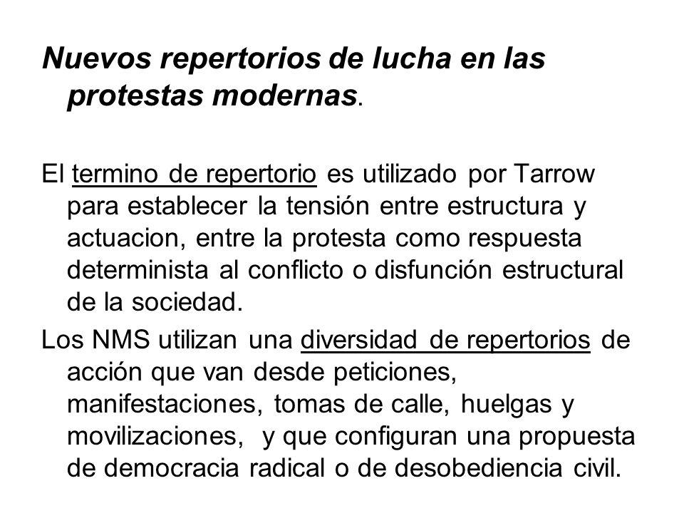 Nuevos repertorios de lucha en las protestas modernas.