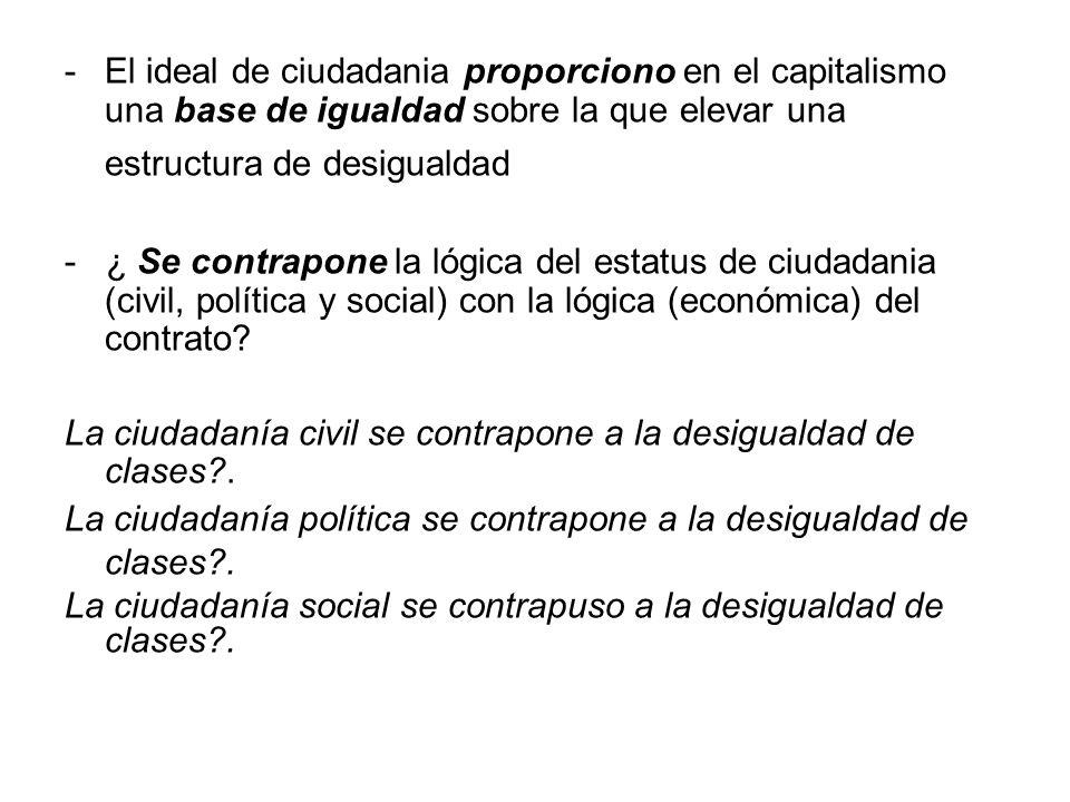 El ideal de ciudadania proporciono en el capitalismo una base de igualdad sobre la que elevar una estructura de desigualdad