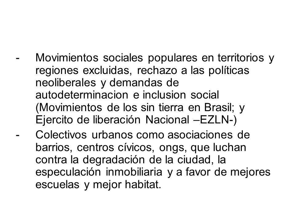 Movimientos sociales populares en territorios y regiones excluidas, rechazo a las políticas neoliberales y demandas de autodeterminacion e inclusion social (Movimientos de los sin tierra en Brasil; y Ejercito de liberación Nacional –EZLN-)