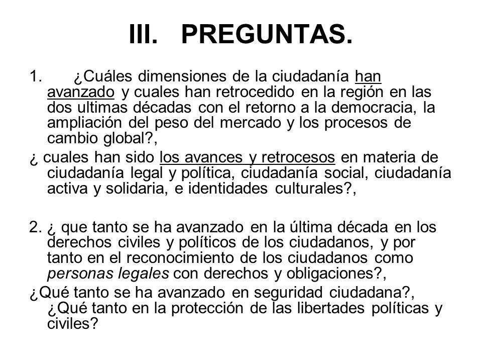 III. PREGUNTAS.