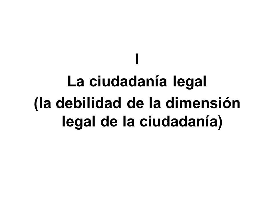 (la debilidad de la dimensión legal de la ciudadanía)