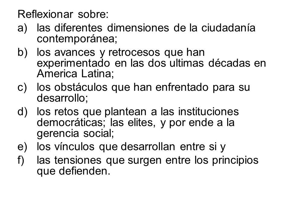Reflexionar sobre:las diferentes dimensiones de la ciudadanía contemporánea;