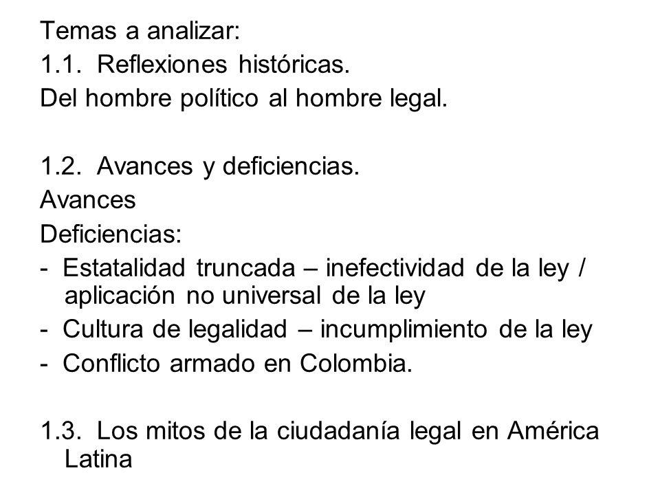 Temas a analizar:1.1. Reflexiones históricas. Del hombre político al hombre legal. 1.2. Avances y deficiencias.