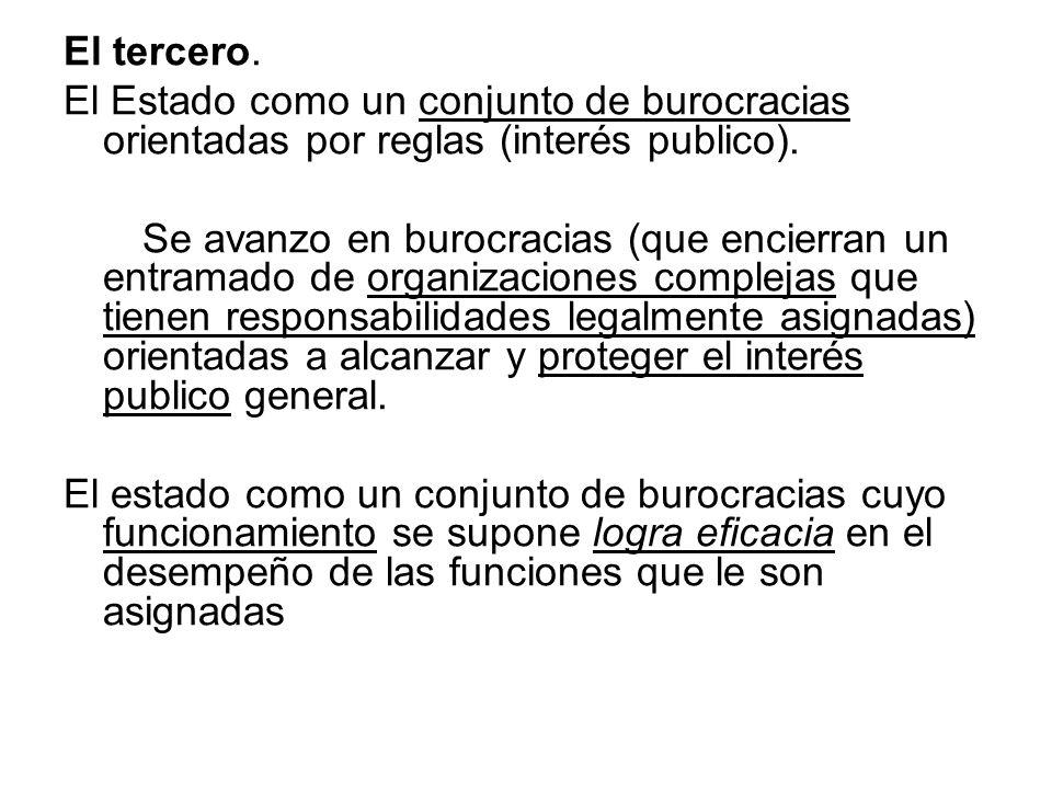 El tercero. El Estado como un conjunto de burocracias orientadas por reglas (interés publico).