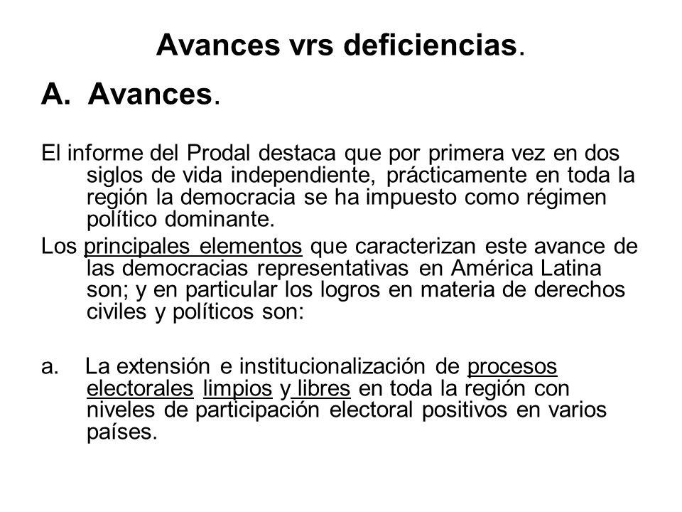 Avances vrs deficiencias.