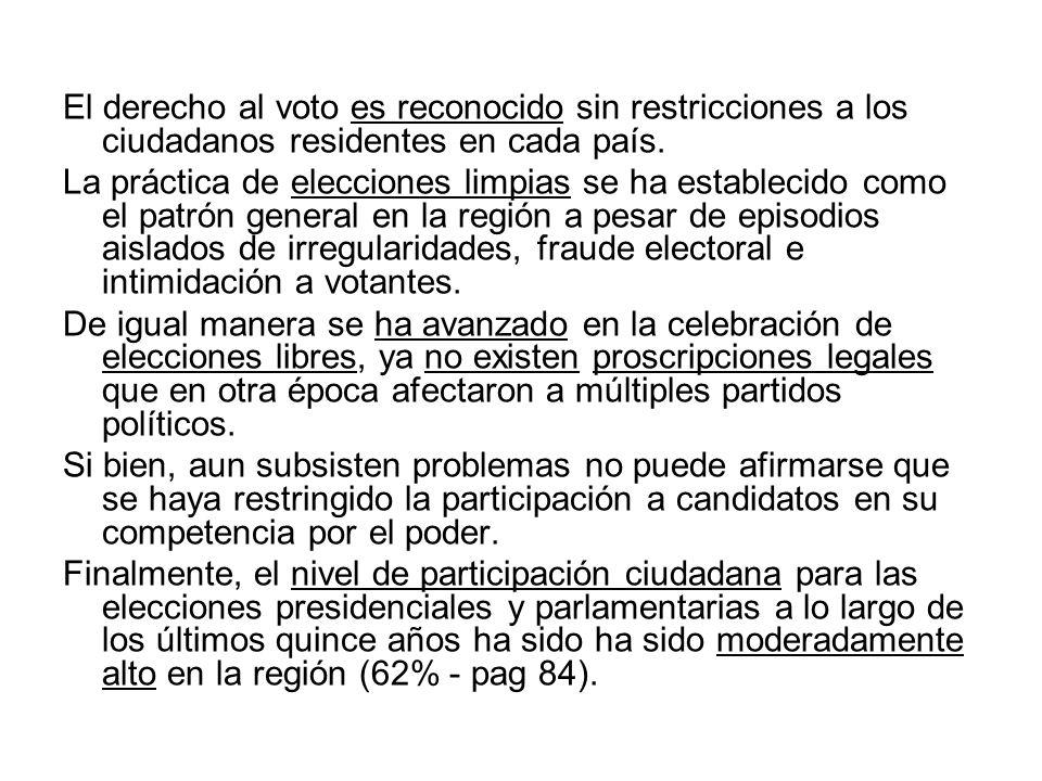 El derecho al voto es reconocido sin restricciones a los ciudadanos residentes en cada país.