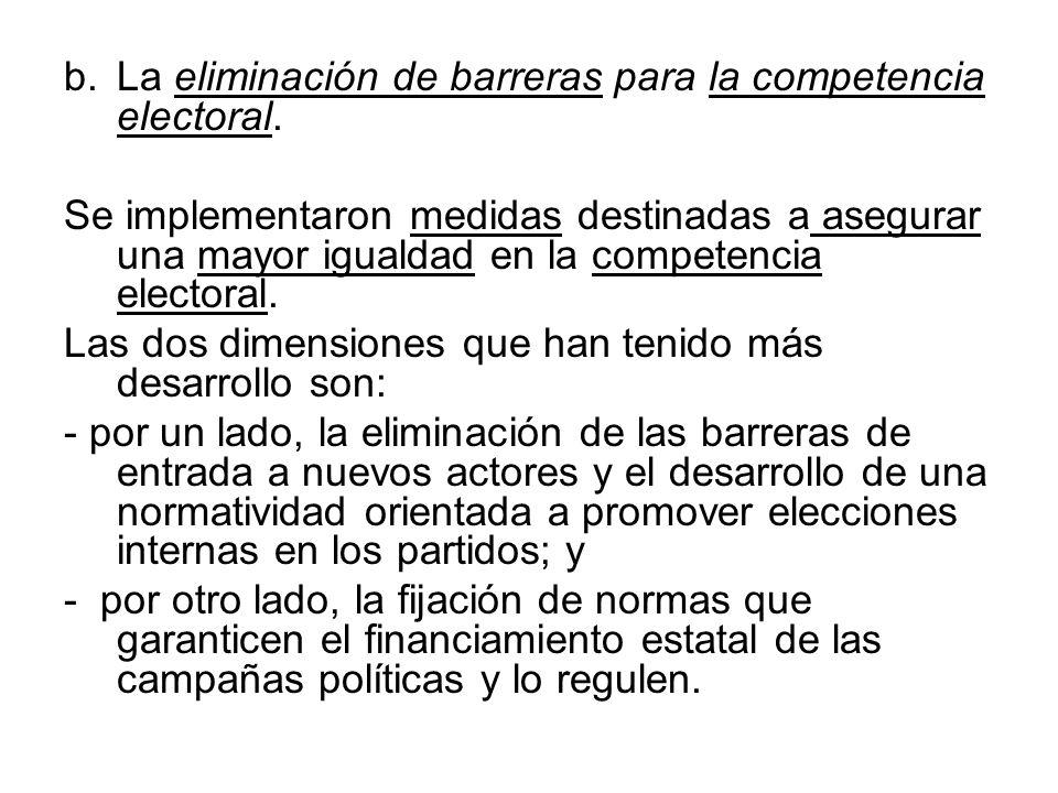 La eliminación de barreras para la competencia electoral.