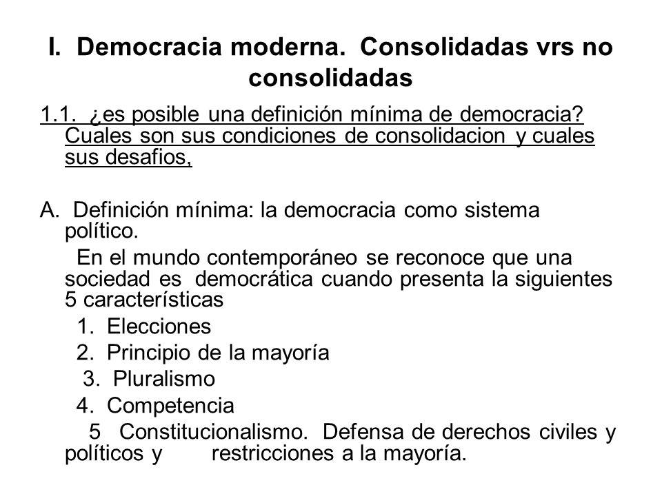 I. Democracia moderna. Consolidadas vrs no consolidadas